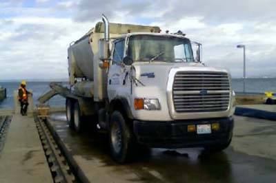bestway truck pouring concrete at dock